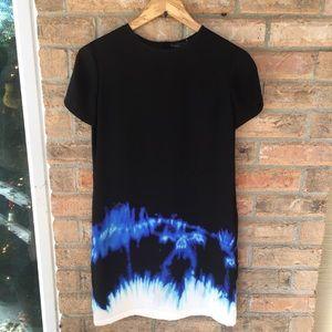 Vince Tie-Dye Hem Shift Dress Size 2 Black Blue